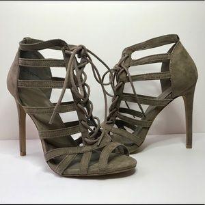 Suede open toe heels